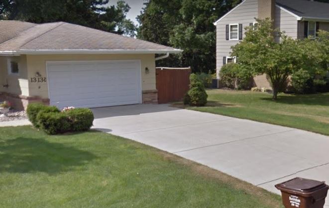 The completed concrete driveway in Burnsville - the couple was thrilled